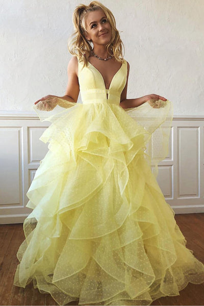 Ball Gown High Low Tiered Skirt Lace V Neck Daffodil Prom Dresses Formal Evening Grad Dress LD2106