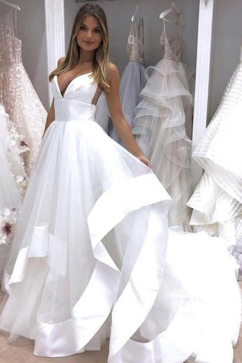 Fashion V Neck High Low A Line High Quality Beach Wedding Dresses Bridal Gowns Dress LD2107
