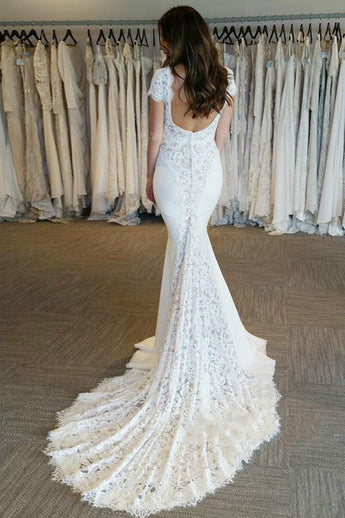 Open Back Cap Sleeves Mermaid Chapel Train Beach High Quality Wedding Dresses Bridal Dress LD2108