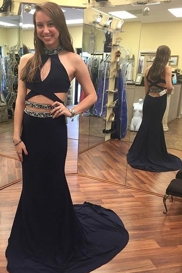 New Arrival Halter Black Mermaid Sexy Long Prom Dresses Evening Gowns LD210