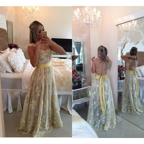 Yellow Lace See Through Back Long Sexy Evening Prom Dresses Party Gowns LD220