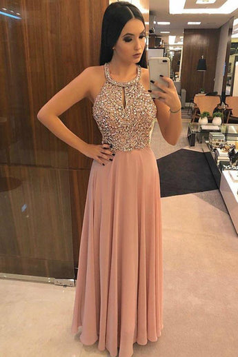 Fashion Open Back Pink Crystal Beaded Long Prom Dresses Formal Evening Fancy Dress LD2112