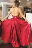 A Line Red Lace Open Back Halter Deep V Neck Pocket Long Prom Dresses Formal Evening Grad Dress LD2114