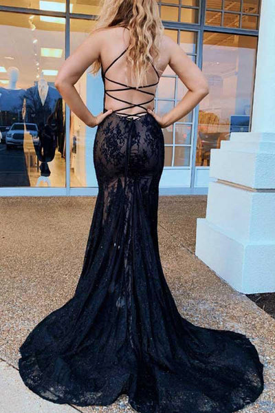 Sexy Open Back Black Lace V Neck Mermaid Long Straps Prom Dresses Formal Evening Dress LD2115