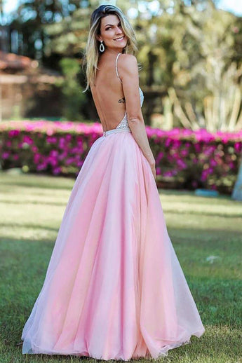 A Line Backless Spaghetti Straps Pink Beaded Long Prom Dresses Formal Evening Grad Dress LD2123