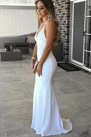 White Sequin Deep V Neck Backless Long Mermaid Prom Dresses Formal Evening Party Dress LD2125