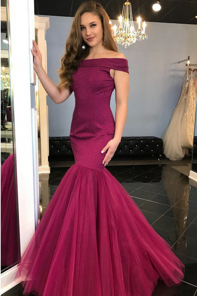 Sexy Off the Shoulder Burgundy Long Mermaid Prom Dresses Formal Evening Party Dress LD2126
