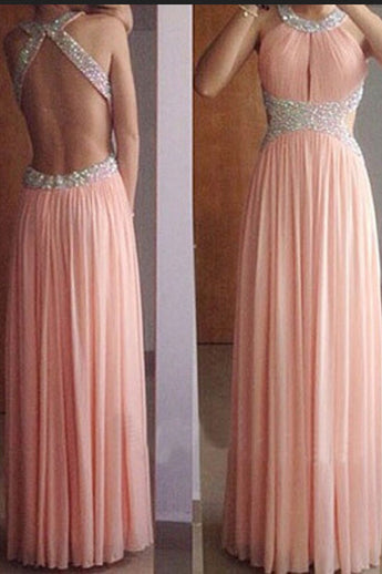 A Line Open Back Pink Beaded Long Prom Dresses Formal Evening Fancy Dress LD2128