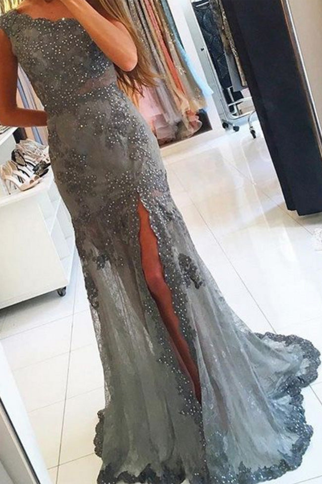 Fashion One Shoulder Grey Lace Beaded Long Mermaid Prom Dresses Formal Evening Party Dress LD2129