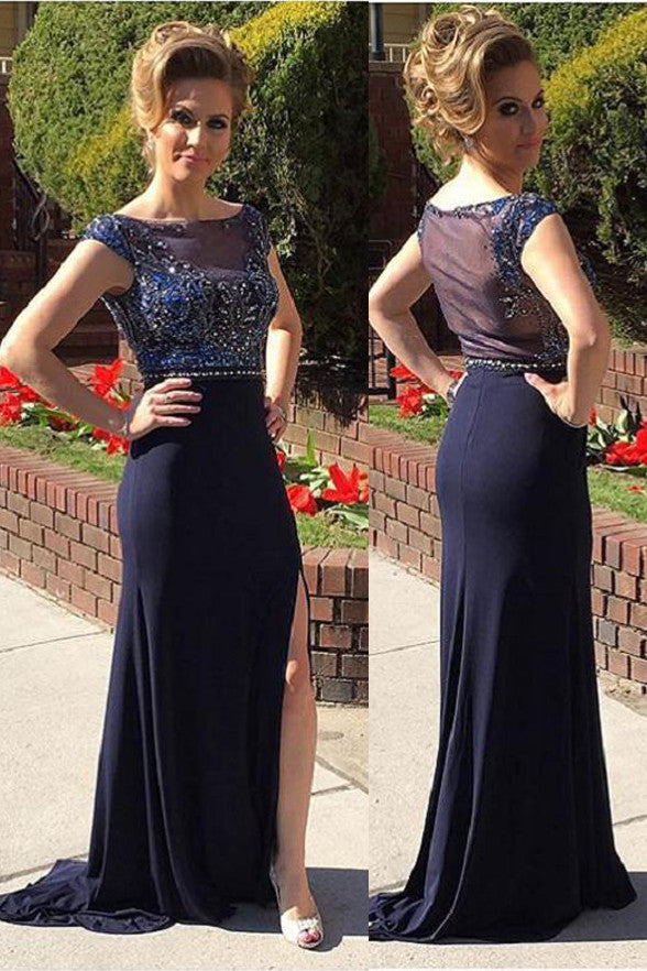Cap Sleeves Navy Blue Slit Mermaid Long Prom Dresses Evening Gowns LD212