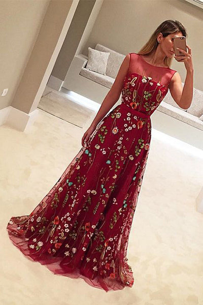 Fashion Burgundy Embroidery Lace Floor Length Formal Prom Dresses Evening Party Dress LD2130