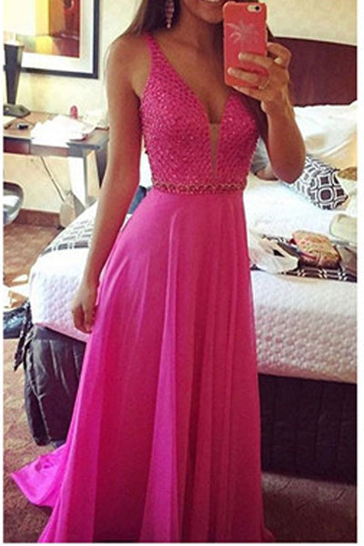 Deep V Neck Hot Pink Chiffon Beaded Long A Line Prom Dresses Formal Evening Fancy Dress LD2131