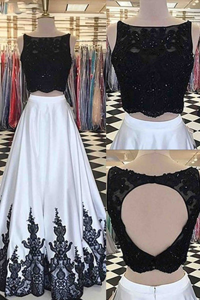 Two Piece Open Back Black Lace White Satin Prom Dresses Formal Evening Grad Dress LD2134