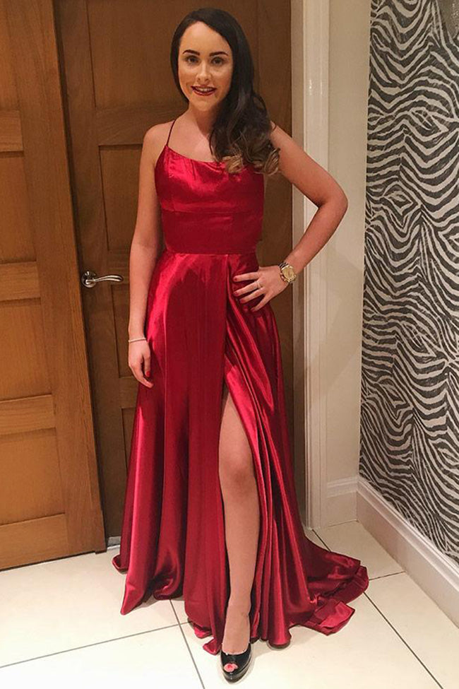 Burgundy Spaghetti Straps Open Back A Line Elegant Prom Dresses Formal Evening Fancy Dress LD2135