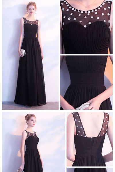 Charming Black Chiffon A Line Floor Length Prom Dresses Formal Evening Fancy Dress LD2136