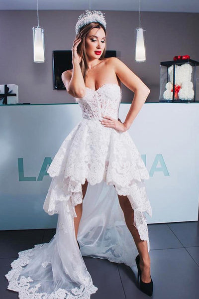 New 2019 White Lace High Low Front Short Long Back Wedding Prom Dresses Evening Dress LD2138