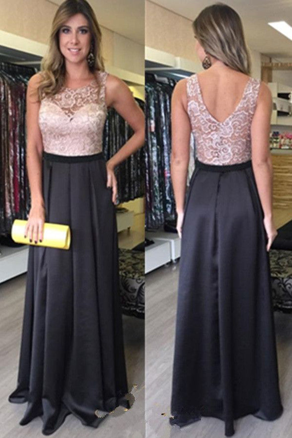 Sleevelesss Back V Lace Black See Through Prom Dress Party Dresses LD213