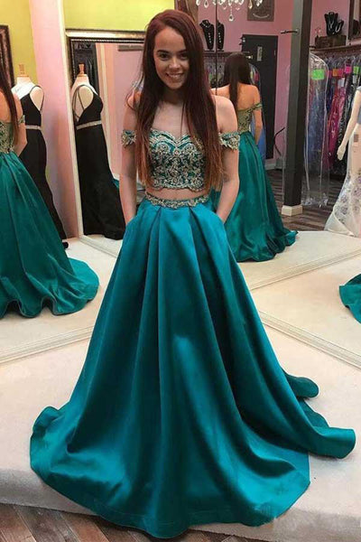 Off the Shoulder Two Piece Beaded Green Prom Dresses Formal With Pocket Evening Grad Dress LD2141