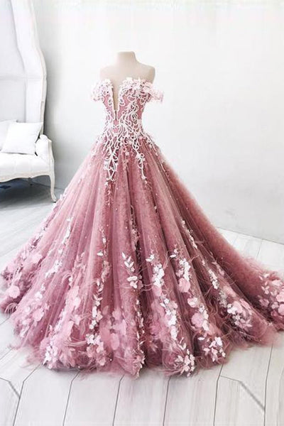 New Design Off the Shoulder Lace Feather Ball Gown Prom Dresses Formal Evening Dress LD2147