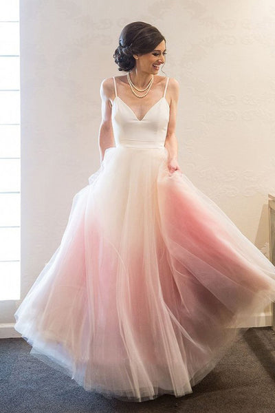 Fashion Spaghetti Strap Pink Ombre Tulle Elegant Long Prom Dresses Formal Evening Gown Dress LD2148