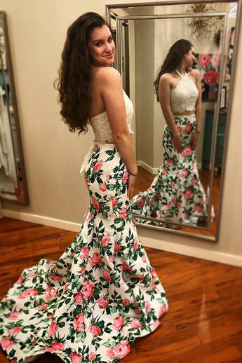 Two Piece White Lace Halter Printed Fabric Mermaid Long Prom Dresses Formal Evening Dress LD2149