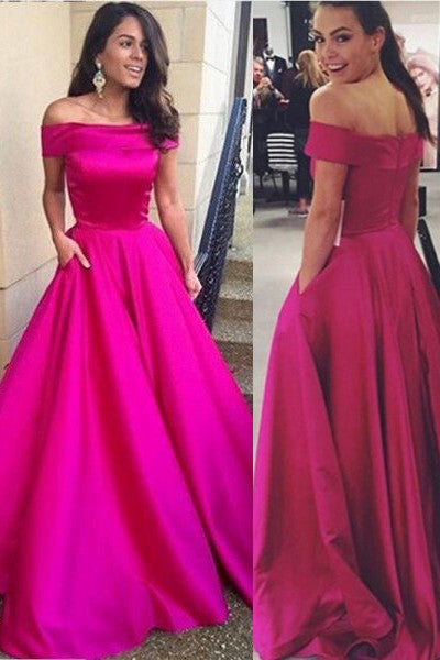 Hot Pink Satin Off the Shouder Elegant Prom Dresses Party Gowns With Pocket LD214