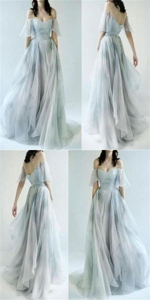 Fashion Off the Shoulder Ombre Chiffon High Low Tiered Prom Dresses Formal Evening Dress LD2151