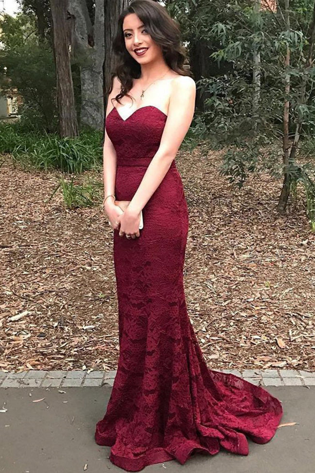 Burgundy Lace Strapless Mermaid Long Fashion Prom Dresses Formal Evening Party Dress LD2154