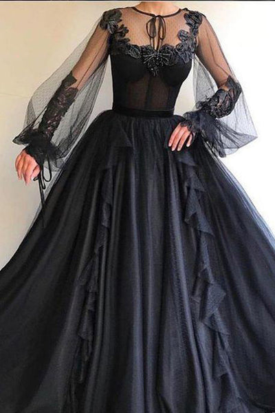 2019 New Long Sleeves Appliques Black Ball Gown Formal Prom Dresses Evening Grad Dress LD2155