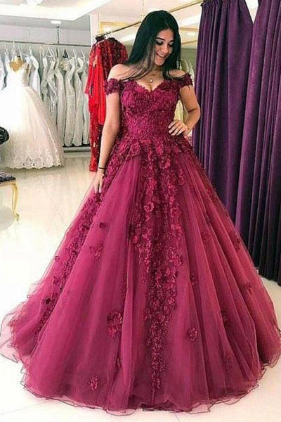 Burgundy Ball Gown Lace Appliques Off the Shoulder Formal Prom Dresses Evening Grad Dress LD2156
