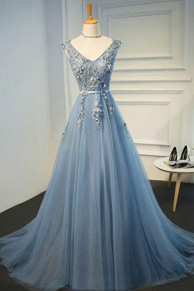 Fashion Top See Through Lace Appliques V Neck Long Formal Prom Dresses Evening Grad Dress LD2158