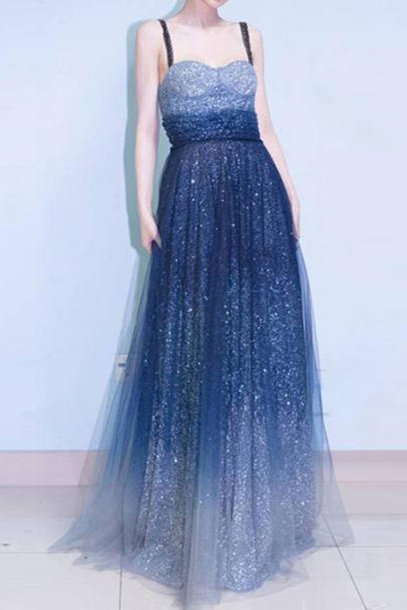 Fashion Ombre Sequin Tulle A Line Long Prom Dresses Formal Gradient Evening Party Dress LD2159