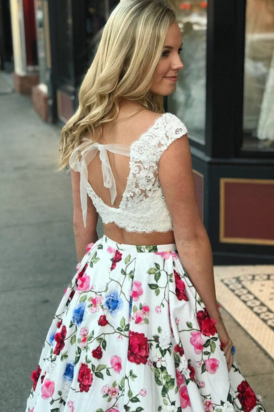 Two Piece Open Back White Lace Printed Flowers Fabric Formal Prom Dresses Evening Grad Dress LD2160