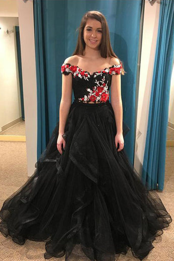 Charming 3D Floral Off the Shoulder Black High Low Formal Prom Dresses Evening Grad Dress LD2162