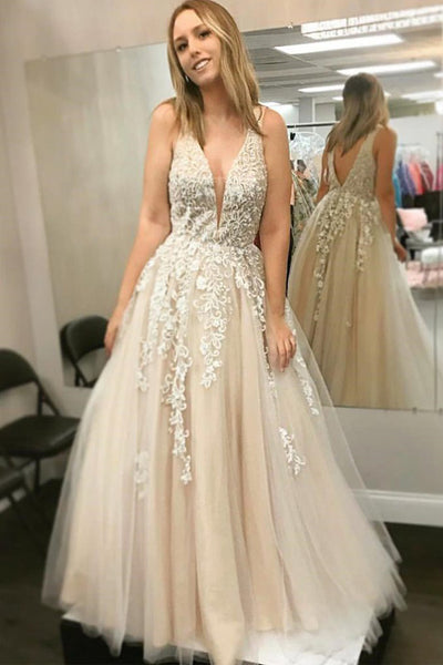 Fashion A Line Deep V Neck Lace Appliques Open Back Formal Prom Dresses Evening Grad Dress LD2163