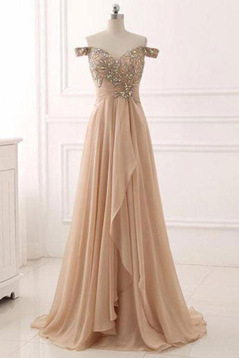 A Line Off the Shoulder High Low Beaded Long Chiffon Formal Prom Dresses Evening Grad Dress LD2164