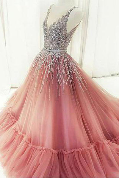 Heavy Sequins A Line V Neck See Through Long Formal Prom Dresses Evening Grad Dress LD2165