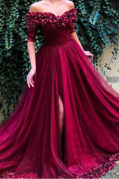 Luxurious Off the Shoulder Burgundy Hand Flowers Long Formal Prom Dresses Evening Grad Dress LD2166