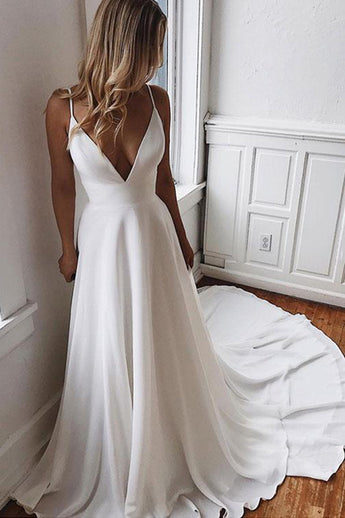 Fashion V Neck White Spaghetti Straps Lace Open Back Wedding Dresses Formal Prom Dress LD2167