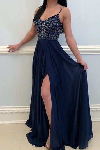 Spaghetti Straps A Line Navy Blue Beaded Long Prom Dresses Formal Evening Grad Dress LD2168