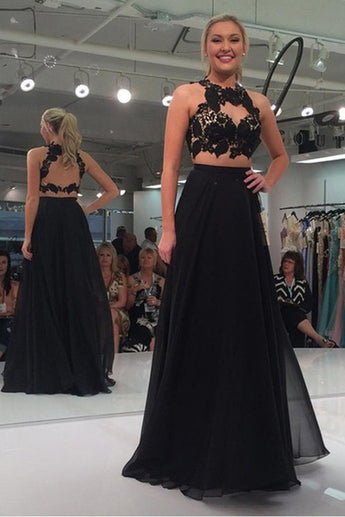 2 Piece Black Lace Chiffon Open Back Sexy Prom Dresses Party Dress LD216