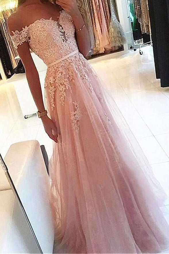 Off the Shoulder A Line Pink Lace Appliques Long Formal Prom Dresses Evening Grad Dress LD2172