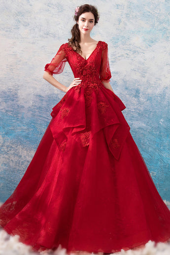 Chic Long Half Sleeves V Neck Red Lace Ball Gown Prom Dresses Formal Evening Dress LD2178