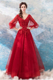 Fashion Long Sleeves Lace Red V Neck Prom Dresses Formal Grad Gowns Evening Dress LD2179