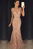 Blush Pink Lace Mermaid V Neck Beads Sexy Long Prom Dresses Evening Gowns LD217