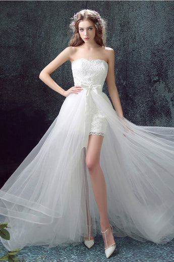 Fashion A Line Strapless Lace White High Low Beach Wedding Dresses Formal Prom Dress LD2180