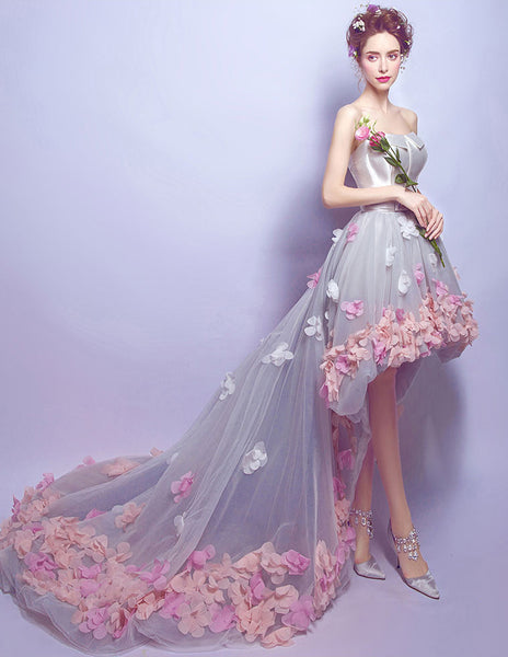 New Arrival Front Short Long Back High Low 3D Flower Prom Dresses Formal Evening Dress LD2181