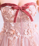 Charming A Line Strapless Plush Pink Lace Appliques Prom Dresses Formal Fancy Evening Dress LD2182