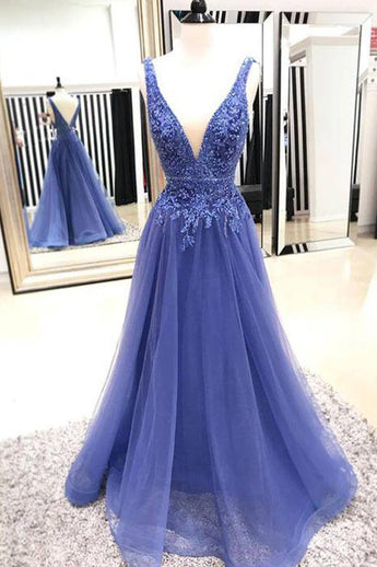 Fashion A Line V Neck Lace Appliques Blue Long Prom Dresses Formal Fancy Evening Dress LD2184