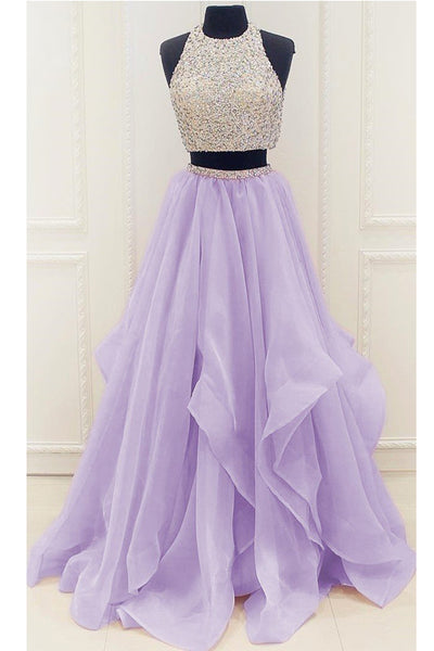Chic Two Piece High Low Beaded Lilac Long Prom Dresses Formal Grad Gowns Evening Dress LD2185